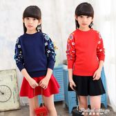 女童毛衣高領冬季童裝加厚套頭中大兒童針織衫雙層保暖羊毛衫