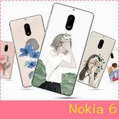 【萌萌噠】諾基亞 Nokia 6 (5.5吋)文藝小清新女款 少女插畫系列 純彩彩繪保護殼 全包軟邊 手機殼