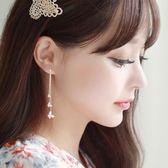 耳環女 韓國蝴蝶流蘇耳墜長款簡約氣質吊墜925銀針超仙耳環耳夾無耳洞女 芭蕾朵朵