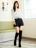 秋冬7折[H2O]復古風雙色織紋下襬波浪剪接短褲裙 - 黑/灰色 #9638001