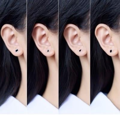 925純銀耳環(耳針式)-黑色經典低調大方生日情人節禮物女飾品4款73dr3【時尚巴黎】