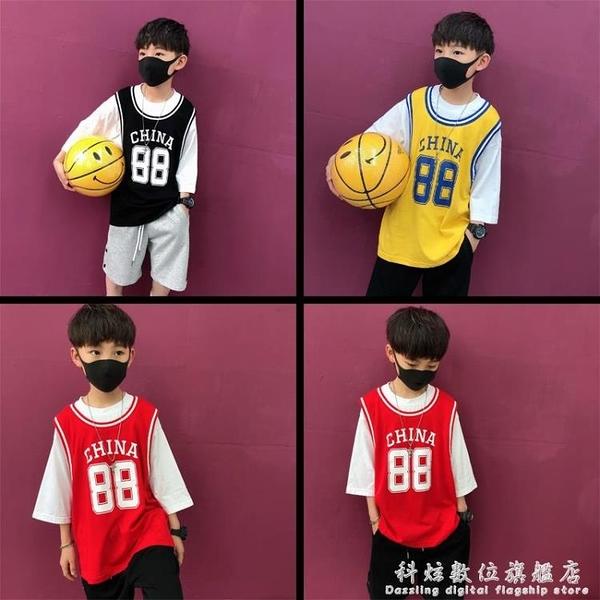 童裝夏裝男童短袖籃球背心T體恤兒童假兩件寬鬆休閒上衣時尚韓版 科炫數位