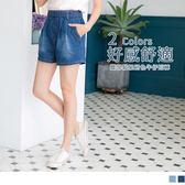 《BA4167-》碧藍色系高含棉車線水洗牛仔丹寧短褲 OB嚴選
