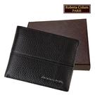 【Roberta Colum】諾貝達 男用專櫃皮夾 進口軟牛皮短夾(25003-1黑色)【威奇包仔通】