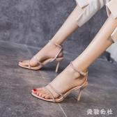 一字帶涼鞋女2020夏新款仙女風性感細跟露趾水鉆百搭時裝高跟鞋女 KP218『美鞋公社』