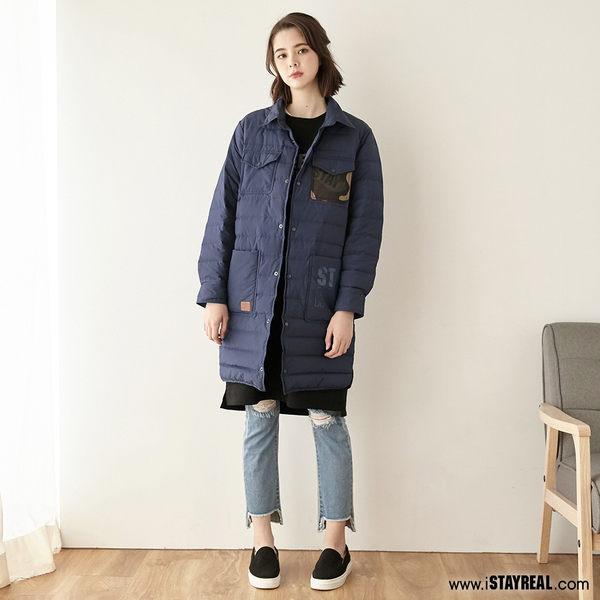 STAYREAL 迷彩口袋長版羽絨外套