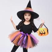 兒童萬圣節親子服裝女童公主裙巫婆女巫cos裝扮化妝舞會演出服【免運】
