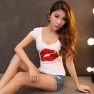 低胸上衣 純棉露背短袖T恤女印花雙U領性感低胸顯胸大修身女裝夏季上衣女潮