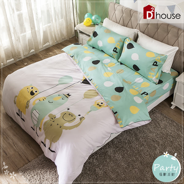 100%純棉5X6.2尺雙人床包兩用被組-怪獸派對