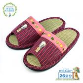 【クロワッサン科羅沙】Peter Rabbit TP和風紋藤葉邊草蓆室內拖鞋 (紅26CM)