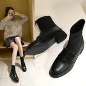 短靴女新款秋冬季英倫風軟皮黑色粗跟網紅針織彈力靴瘦瘦襪靴 遇見初晴