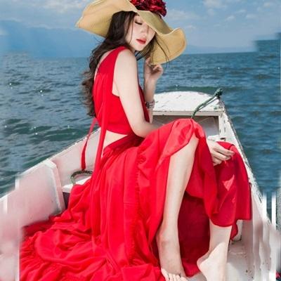 長洋裝 波西米亞風-性感露腰低胸大擺女連身裙2色73mw8【巴黎精品】