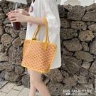 韓國mini復古狗牙包網紅質感購物袋ins水桶包2020新款手提手拎包 艾瑞斯