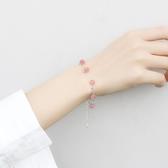雙層純銀天然草莓晶粉水晶手錬招桃花女韓版簡約學生森系閨蜜