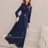 洋裝秋裝年新款韓版氣質女人味V領假兩件長袖拼接壓褶長裙 雙十二全館免運