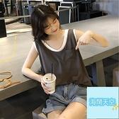 無袖T恤女夏韓國假兩件短袖韓版學生寬松上衣【海闊天空】