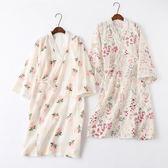 日系全棉雙層紗布和服睡袍純棉睡裙女夏日式碎花和風浴袍浴衣家居