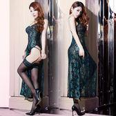 情趣內衣服女士夏季性感蕾絲孔雀羽毛刺繡高開叉長裙旗袍套裝