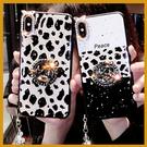 (附掛繩)鏡頭帶鑽豹紋OPPO手機殼 R...