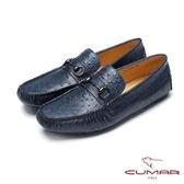 CUMAR雅痞時尚 鴕鳥紋牛皮帆船鞋-藍