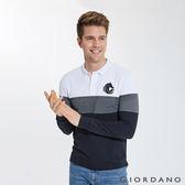 【GIORDANO】男裝立體刺繡撞色長袖POLO衫-11 標誌白/深灰