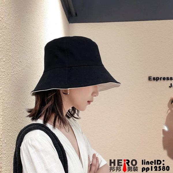 百搭遮陽帽冬季漁夫帽防曬雙面韓版【邦邦男装】