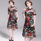 短袖連身裙-鏤空蕾絲網紗刺繡女洋裝74ae17【巴黎精品】