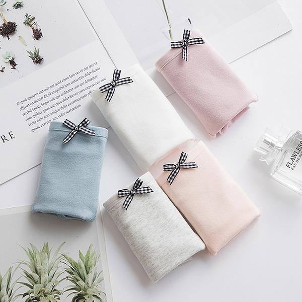 MUMU【TM00773】格紋蝴蝶結薄款純棉內褲。五色。一般/加大