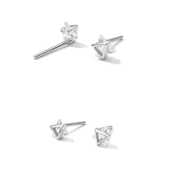 925純銀 六芒星雙三角形 天然白水晶 耳環耳釘針-銀 防抗過敏