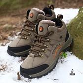 老人鞋冬季加絨加棉保暖輕便防滑耐磨大碼雪地靴情侶戶外登山鞋【愛物及屋】
