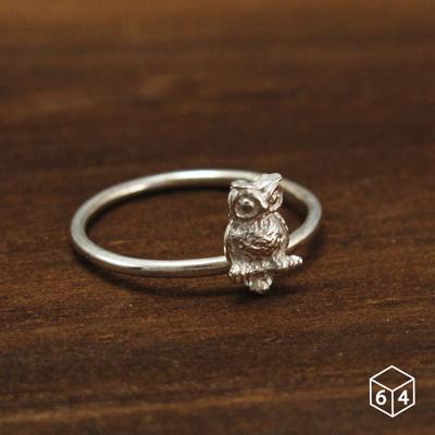 戒指  貓頭鷹 925純銀戒指-64DESIGN銀飾