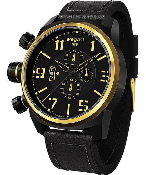 elegantsis Army 叢林戰鬥強悍三眼計時腕錶-黑x金/48mm ELJT48-OB13LC