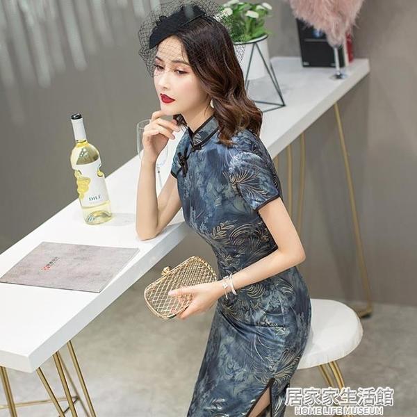 日常新式改良年輕款少女旗袍夏季中國風復古修身中長款洋裝禮服  聖誕節免運