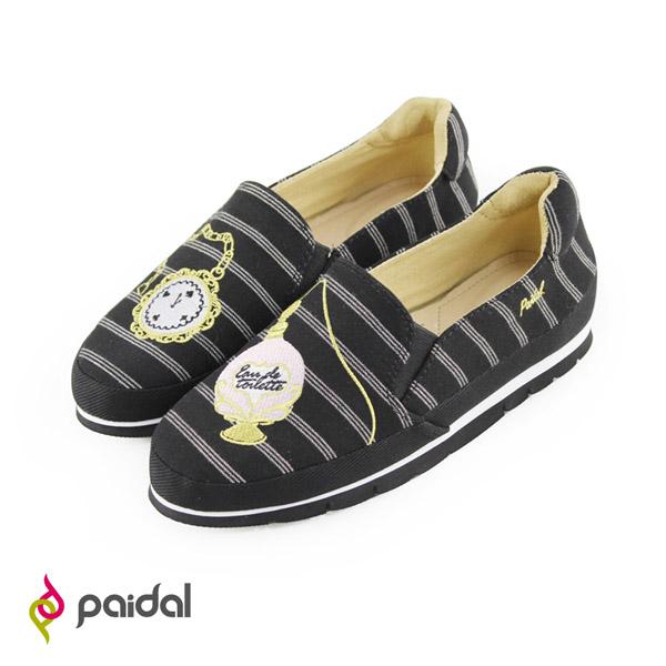 Paidal夢遊仙境懷錶香水輕休閒樂福鞋樂福鞋懶人鞋-條紋黑