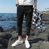 薄款九分褲男士牛仔褲修身韓版潮流彈力小腳男生春季9分褲子1501
