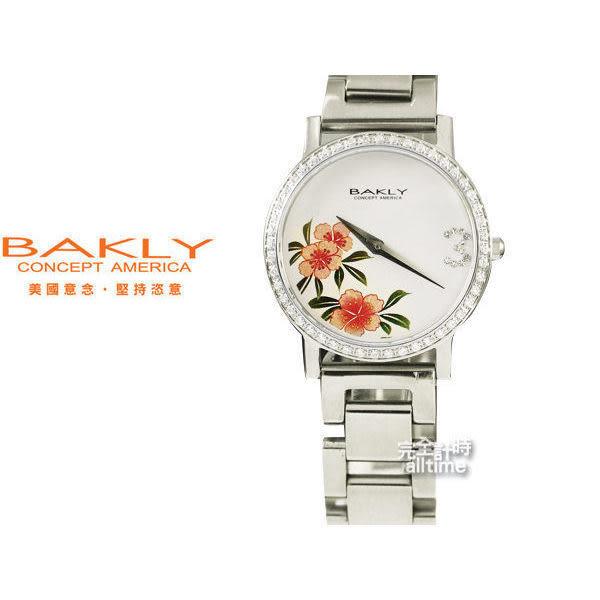 【完全計時】手錶館│BAKLY 都會晶鑽簡單錶款 唐草水墨花卉款/白色面 BAS6020T-4ST
