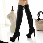 中大尺碼女鞋 2020歐美新款長筒靴過膝長靴高跟細跟性感