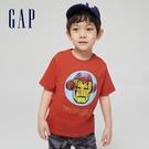 Gap男幼童 Gap x Marvel 漫威系列鋼鐵人棉質舒適印花圓領短袖T恤 548758-橘紅色