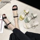 PAPORA氣質二穿粗跟跟鞋涼拖鞋KK7137黑色/米色