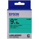 [哈GAME族]免運費 可刷卡 EPSON LK-3GBP 標籤機色帶 標籤帶 綠底黑字 9mm