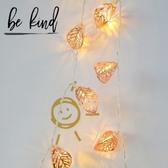 玫瑰金葉子LED彩燈閃燈串燈ins創意房間裝飾燈串網紅臥室布置小燈