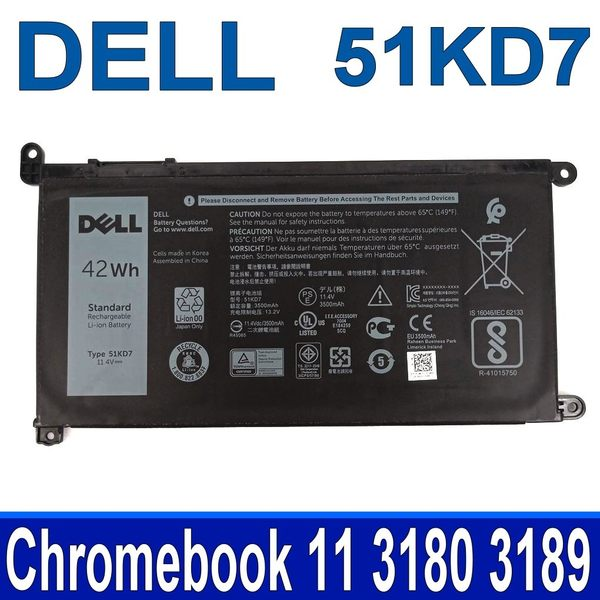 DELL 51KD7 3芯 原廠電池 J0PGR FY8XM Y07HK 內置電池 Latitude 11 3180 3189 Chromebook 11 3180 3189 3181