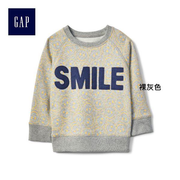 Gap男嬰幼童 簡潔動感風格套頭長袖休閒上衣 260431-裸灰色