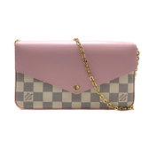 【台中米蘭站】全新品 Louis Vuitton Pochette Felicie 棋盤格牛皮拚帆布斜背手拿長夾(N60235-白/粉)