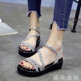 厚底鞋 涼鞋女韓版學生厚底水鑽原宿中跟女鞋子時尚百搭鬆糕鞋女 綠光森林
