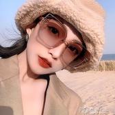 網紅超大框秋冬季香檳茶色偏光墨鏡女大臉顯瘦復古方形貓眼太陽鏡 探索先鋒