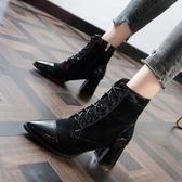 短靴 秋冬新款百搭網紅顯瘦高跟短靴尖頭馬丁靴女粗跟系帶單靴