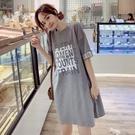純棉t恤裙女寬鬆短袖ins中長款洋裝/連衣裙2021新款衣服韓版學生 快速出貨