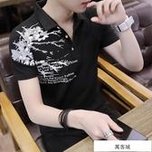 夏季新款男士領短袖t恤青年翻領套頭POLO衫男韓版修身半袖衫潮流 萬客城
