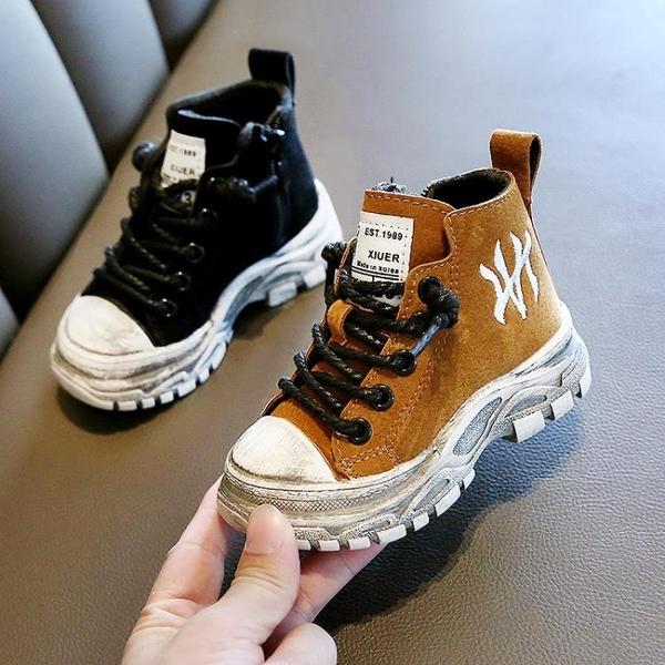 男童靴子新款秋冬季英倫風短靴女寶寶馬丁靴二棉兒童鞋1-3歲2